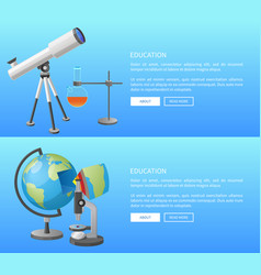Education web banner with geography and astronomy vector