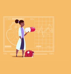 Female african american doctor holding pill vector