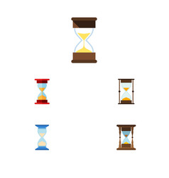 Flat icon sandglass set of waiting minute vector