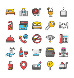 flat icons set hotel and travel vector image
