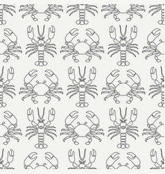 flat line seamless pattern ocean fauna vector image