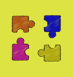 Flat shading style icon kids puzzle vector