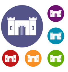 Fortress with gate icons set vector