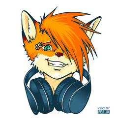 Fox furry dj with headphones vector