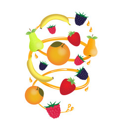 fruits and berries in a juice stream with spray vector image