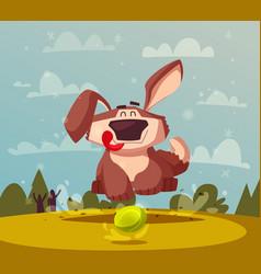 funny dog cartoon cute puppy vector image