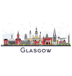 glasgow scotland city skyline with color vector image