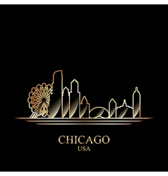 Gold silhouette of Chicago on black background vector image