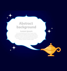 Golden genie oil lamp with white smoke place vector