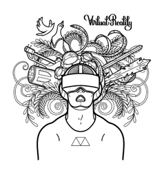 Graphic man wearing virtual reality headset vector image