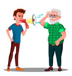 Guy screaming to hearing impaired elderly man vector