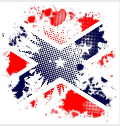 Halftone grunge confederate flag background vector