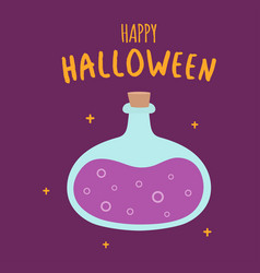 halloween card with cartoon bottle of poison vector image