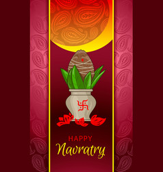 Happy navratry concept banner cartoon style vector