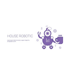 house robotic smart home technology template web vector image