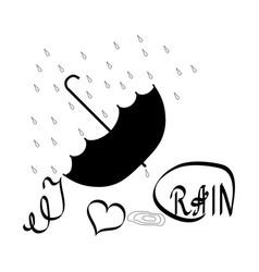 i love rain t shirt umbrella and rain lettering vector image