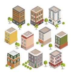 Isometric City Buildings Set European Houses vector