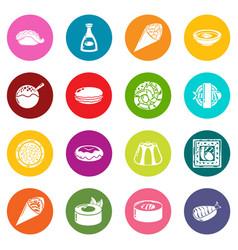 japan food icons set colorful circles vector image