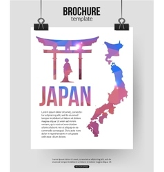 Japan travel background Brochure with Japan map vector