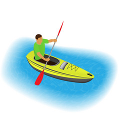 Kayaker character paddling on a kayak sports vector