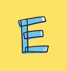 Kid style letter e logo hand-drawn with a marker vector