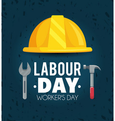 Labour day celebration with helmet and hammer vector