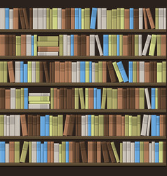 Library book shelf seamless background vector