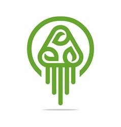 Logo Design Go Green Garden Plants Circle Icon vector image