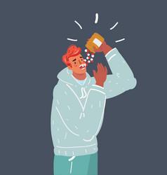 man eating a lot medication hypochondriac and vector image