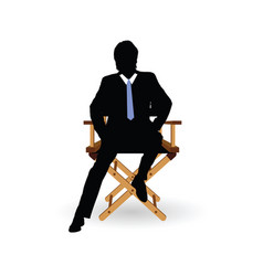 man sitting on the chair vector image