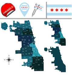 Map of chicago with community areas vector