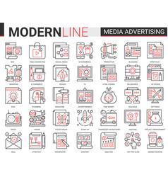 media advertising complex line vector image