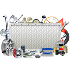 Metal Board with Car Parts vector