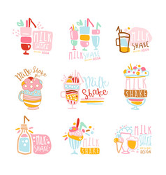 Milk shake labels set colorful hand drawn vector