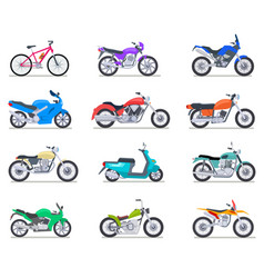 motorbike set motorcycle and scooter bike and vector image