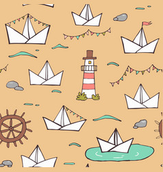 nautical seamless pattern colorful ornament vector image