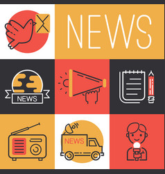 News icons journalist man character with vector