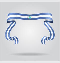 Nicaraguan flag wavy ribon background vector