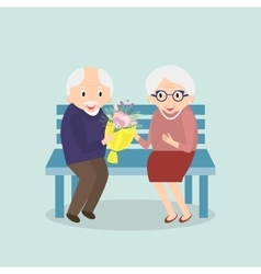 Old couple together Seniors happy leisure vector