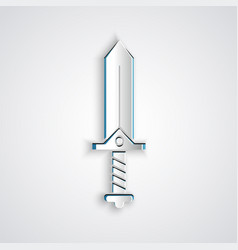Paper cut sword for game icon isolated on grey vector