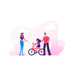 Parents teaching child riding bicycle in city park vector