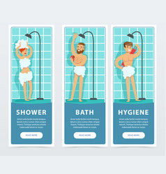 People taking shower banners set daily hygiene vector