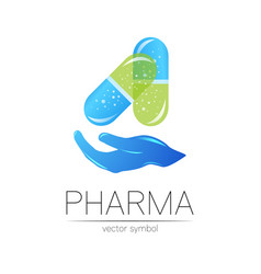 Pharmacy symbol with hand for pharmacist vector