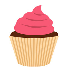 Pink cupcake icon isolated vector
