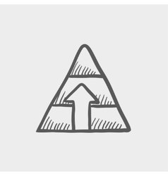 Pyramid with arrow up sketch icon vector