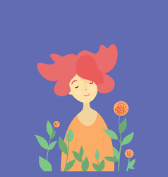 redhead girl and spring blossom vector image