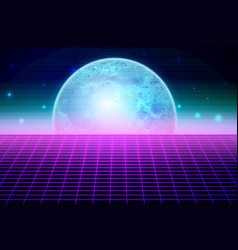 Retro sci fi background with moon vector