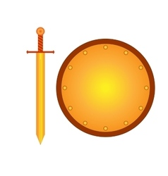 Set of sign shield and sword gold R 2208 vector