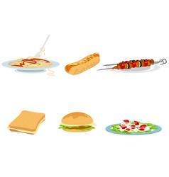 set of six food options vector image