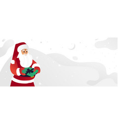 sketch santa claus presents box green vector image